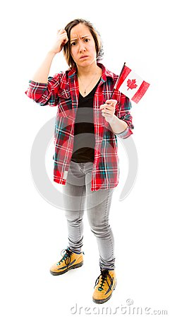 Confused woman with holding Canada flag