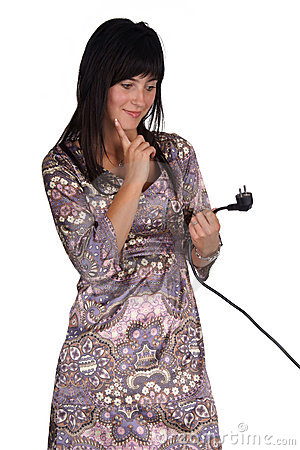 Confused woman with power plug