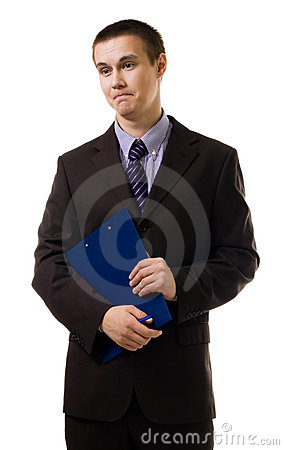 Confused young business man stand in formal suit