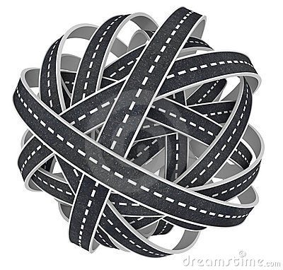 Congested Tangled Ball of Roads 3D Illustration Stock Photo