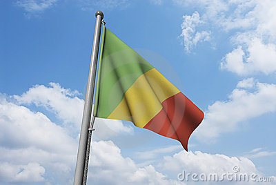 Congo Flag with Clouds