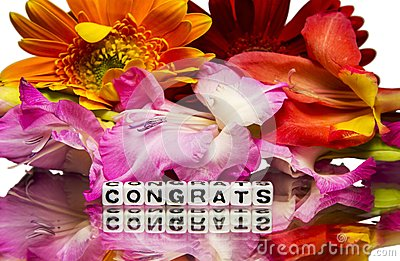 Congrats with flowers