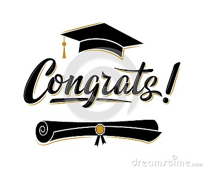 Congrats! greeting sign for graduation party. Class of 2020. Academic cap and diploma Vector Illustration
