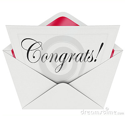 Congrats Note Open Letter Card Envelope Congratulations