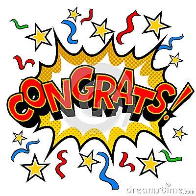 Free Congrats Word Comic Book Pop Art Vector Stock Photos - 119569463