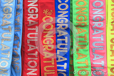 Congratulation wording on colorful fabric background