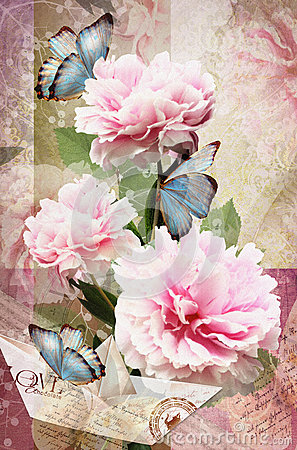 Free Congratulations Card With Peonies, Butterflies And Paper Boat. Royalty Free Stock Photo - 58576475