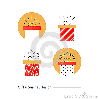 Free Congratulations Gift Box, Perfect Present, Prize Award Icon Royalty Free Stock Images - 87398289