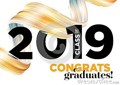 Congratulations Graduates Class of 2019 Vector Logo. Graduation Background Template. Greeting Banner for College Graduation Vector Illustration