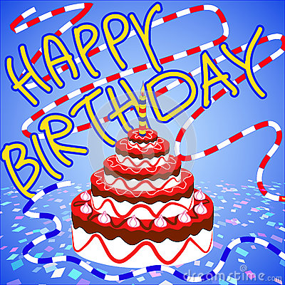 Congratulations and happy birthday strawberry cake Vector Illustration