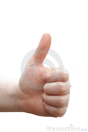 Congratulations!! Human hand giving thumbs up