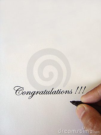 Congratulations written