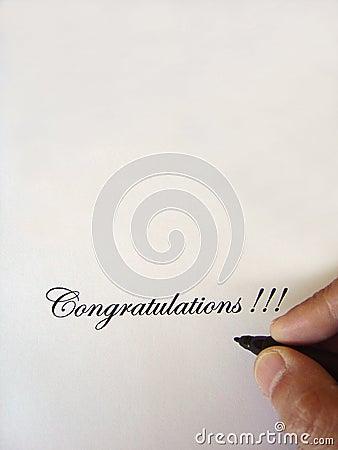 Congratulations written