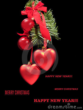 Congratulatory Christmas card with red balls and hearts on a fur