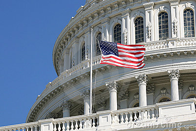 US Congress Capitol with Flag