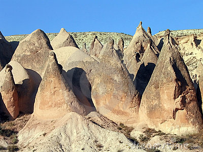 Conical rock formations, Cappadocia, Turkey