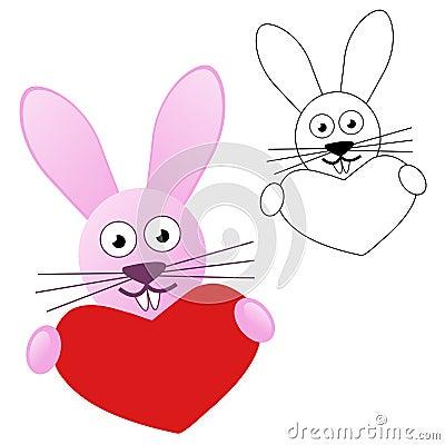 Coniglietto che tiene cuore rosso