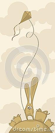 Coniglietto sveglio con un aquilone