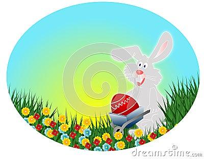Coniglio di pasqua con l 39 uovo rosso cartolina di pasqua for Esterno orecchio rosso