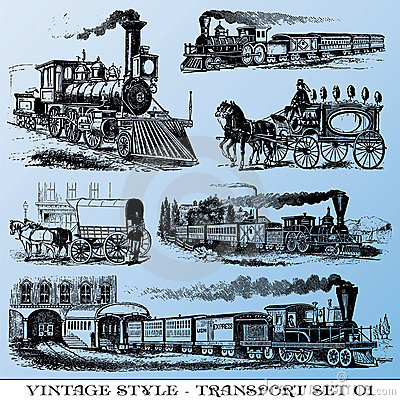 Conjunto antiguo del transporte