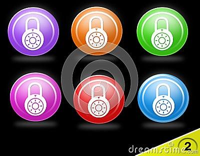 Conjunto colorido del icono de la seguridad
