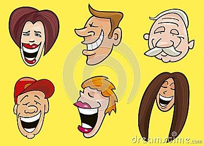 Conjunto de caras alegres