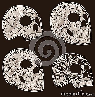 Conjunto de cráneos mexicanos del azúcar