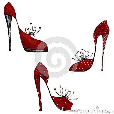 Conjunto de elementos decorativos. Zapatos