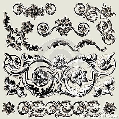 Conjunto de elementos florales clásicos de la decoración