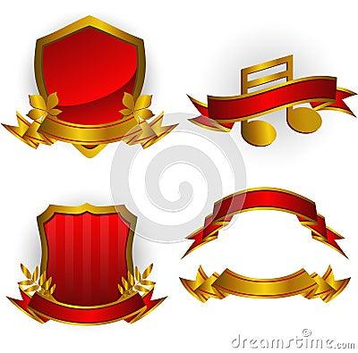 Conjunto de emblemas y de banderas del vector