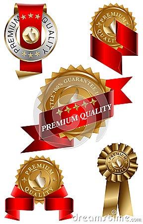Conjunto de escritura de la etiqueta superior de la calidad