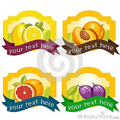 Conjunto de escrituras de la etiqueta de la fruta