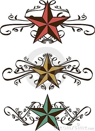 Conjunto de estrellas occidentales adornadas