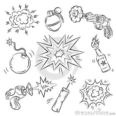 Conjunto de explosivos y del arma