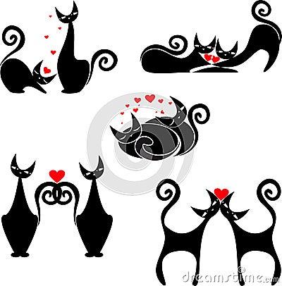 Conjunto de figuras estilizadas de gatos