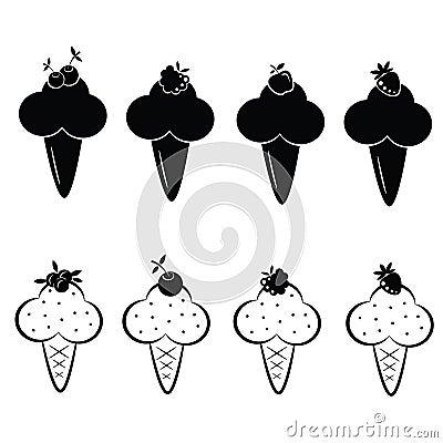 Conjunto de iconos del helado del vector