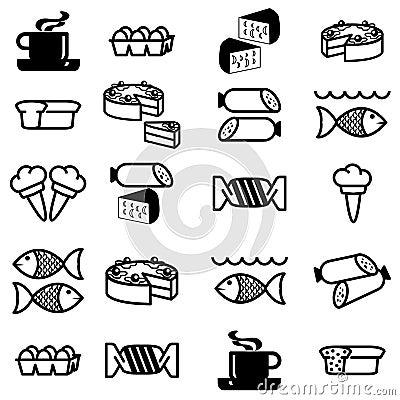 Conjunto de iconos en el tema del alimento