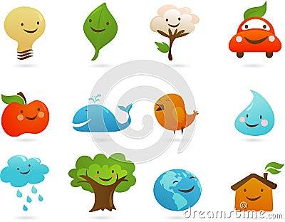 Conjunto de iconos y de ilustraciones lindos de la ecología