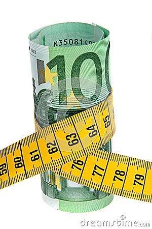 Conjunto de la economía del símbolo con el billete de banco euro