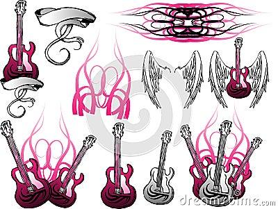 Conjunto de la guitarra eléctrica de Grunge