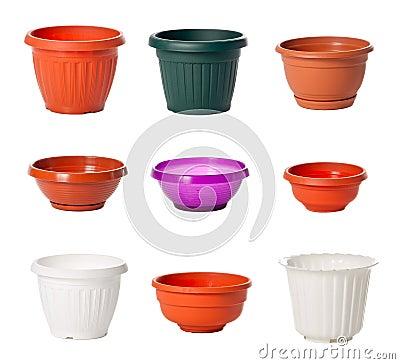 Conjunto de las macetas plásticas para las plantas de interior