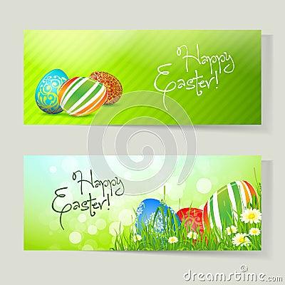 Conjunto de las tarjetas de pascua con los huevos
