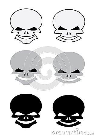 Conjunto de los cráneos para el tatuaje