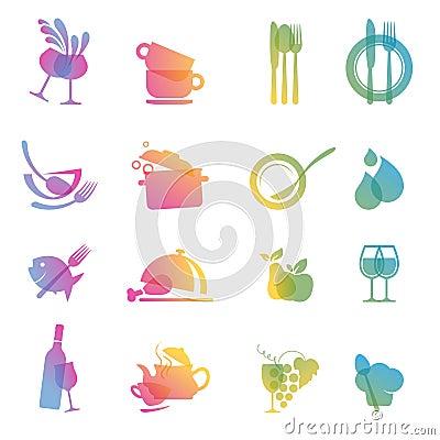 Conjunto de los iconos para los restaurantes