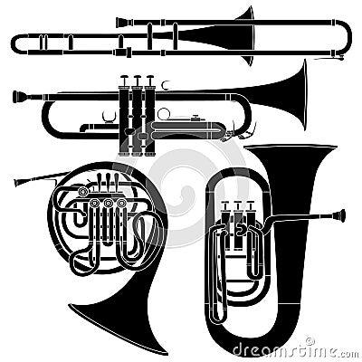 Conjunto de los instrumentos musicales de cobre amarillo en vector