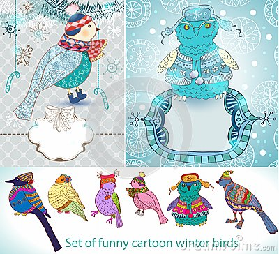 Conjunto de pájaros divertidos del invierno de la historieta