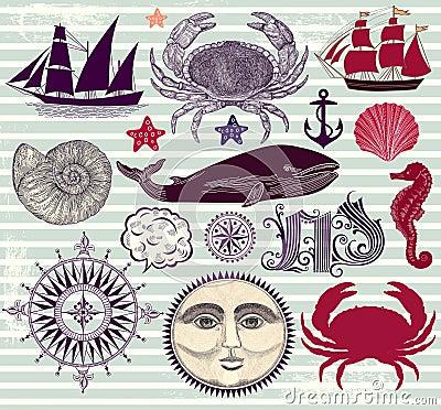 Conjunto de símbolos náuticos y del mar