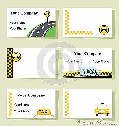 Conjunto de seis tarjetas de visita del taxi