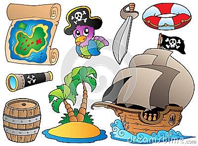 Conjunto de varios objetos del pirata