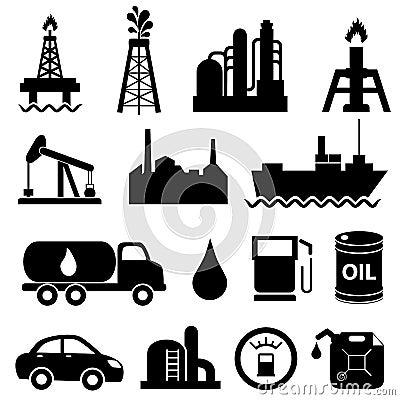 Conjunto del icono de la industria de petróleo